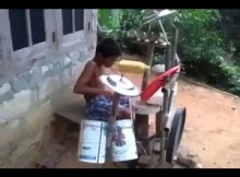kid with home-grown drummer